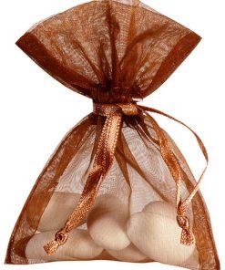 sac à dragées organza chocolat
