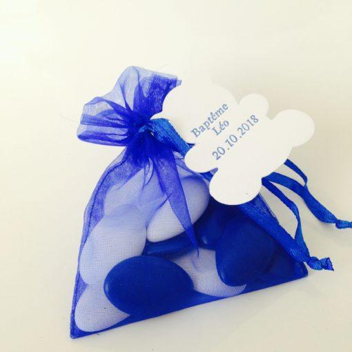 sac a dragees organza bleu roi