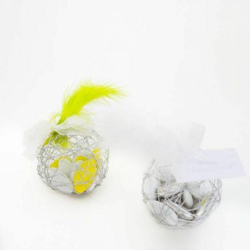 Boule a dragées en metal argent