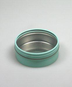 boite à dragées en métal turquoise