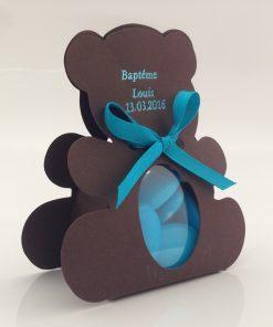 Contenant dragées ourson chocolat