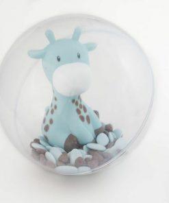 Centre de table girafe bleu dragées baptême
