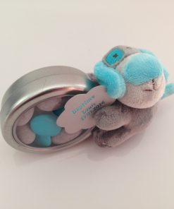 Peluche chien turquoise dragées baptême