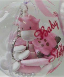 porte cles girafe rose - dragées baptême