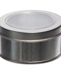 Boite a dragées ronde en métal argent