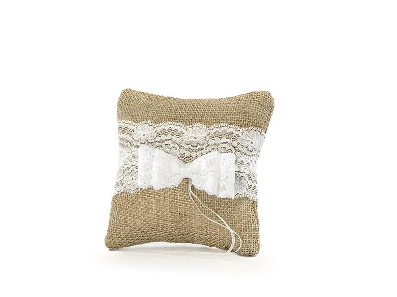 coussin porte alliance toile de jute et n ud dentelle la boite drag es. Black Bedroom Furniture Sets. Home Design Ideas