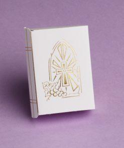 Boite à dragées communion en forme de missel avec motif vitrail or