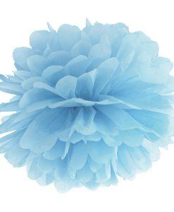 pompon papier de soie bleu ciel