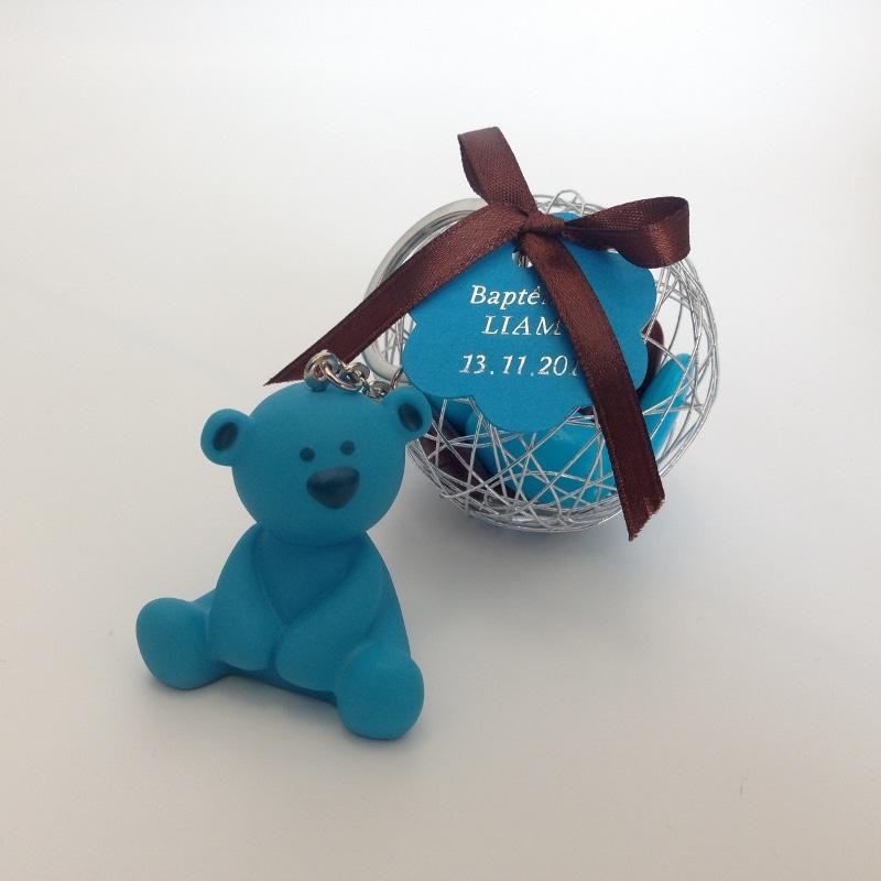 Porte cl s ourson bleu turquoise avec boule m tallique argent la boite drag es - Porte photo bapteme garcon ...