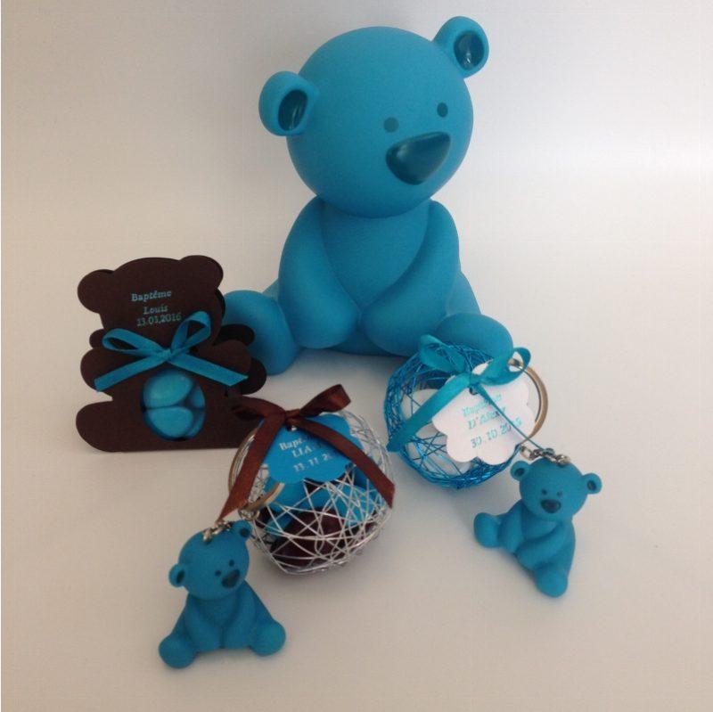 048ce2369a95f Porte clés ourson bleu turquoise - La Boite à Dragées