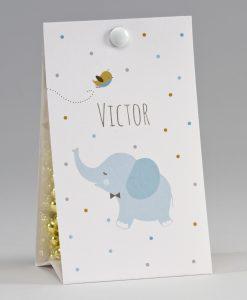 Boite à dragées éléphant bleu