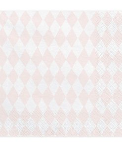 Serviettes losanges rose et blanc
