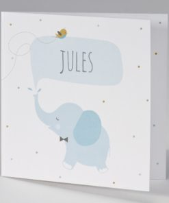 Carte invitation elephant bleu