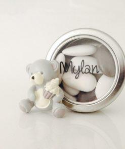 boite à dragées ourson gris et blanc