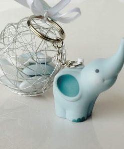 elephant porte cles bleu dragees bapteme