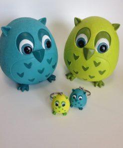 tirelire chouette vert anis et bleu turquoise