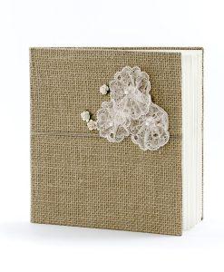 Livre d'or mariage jute et fleur