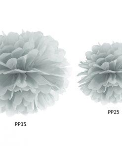 pompon en papier gris argenté