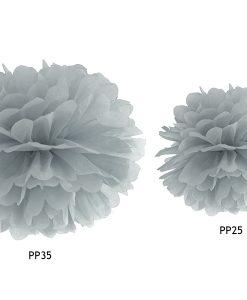 Pompon en papier de soie gris
