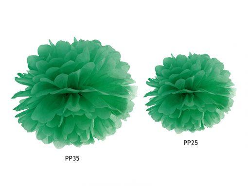 pompon en papier vert foncé