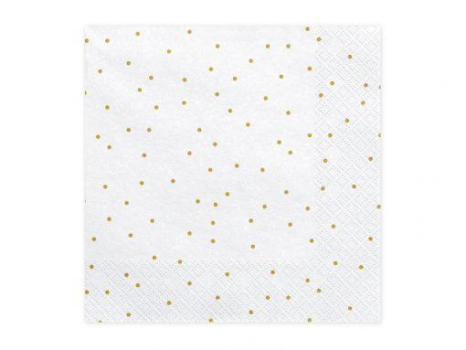 serviette papier blanc à pois dorés