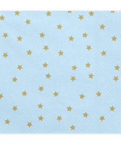 serviette papier bleu et étoiles dorés