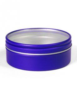 boite à dragées bleu roi -ronde en métal