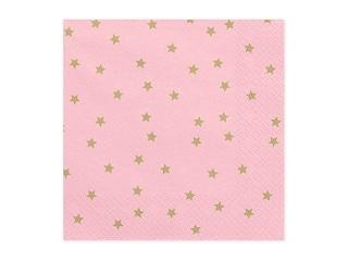 serviette en papier rose /étoiles dorées