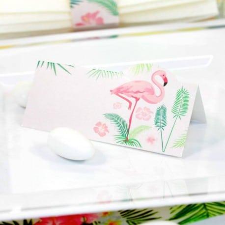 carte de table et rond de serviette flamant rose