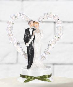 Figurine mariés coeur blanc