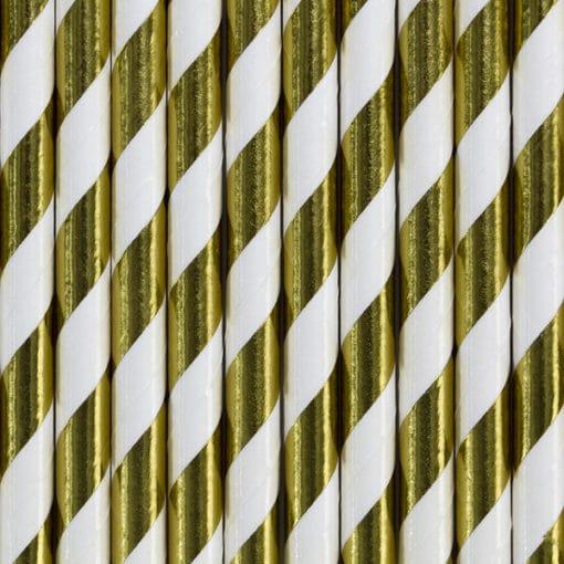 Paille rayées blanc et or