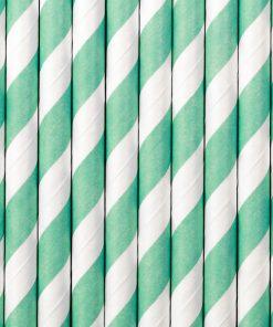 pailles rayées vert d'eau-blanc