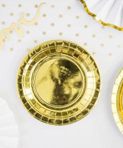 assiette métallisée or