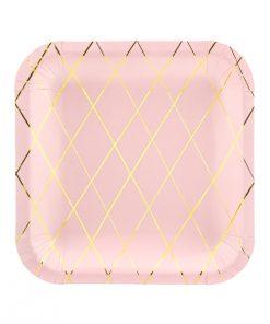 assiette carrée rose et or