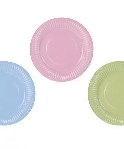 assiette rose bleu et vert pastel