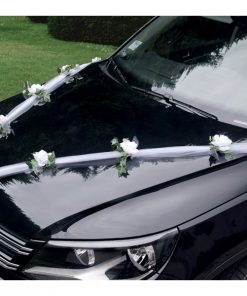 guirlande tulle déco voiture mariage