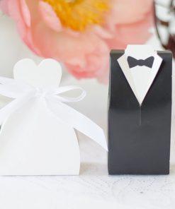 boite à dragées-robe de mariée-lot de 10