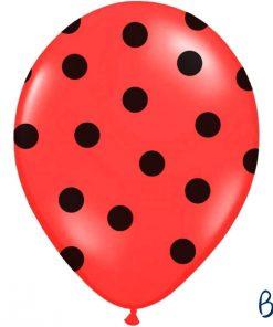 ballon rouge-pois noirs