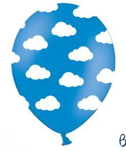 ballon turquoise-nuages blancs