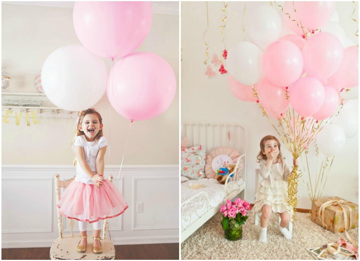 Déco Anniversaire Rose Glitter Paillette Fille Enfant Ballon La