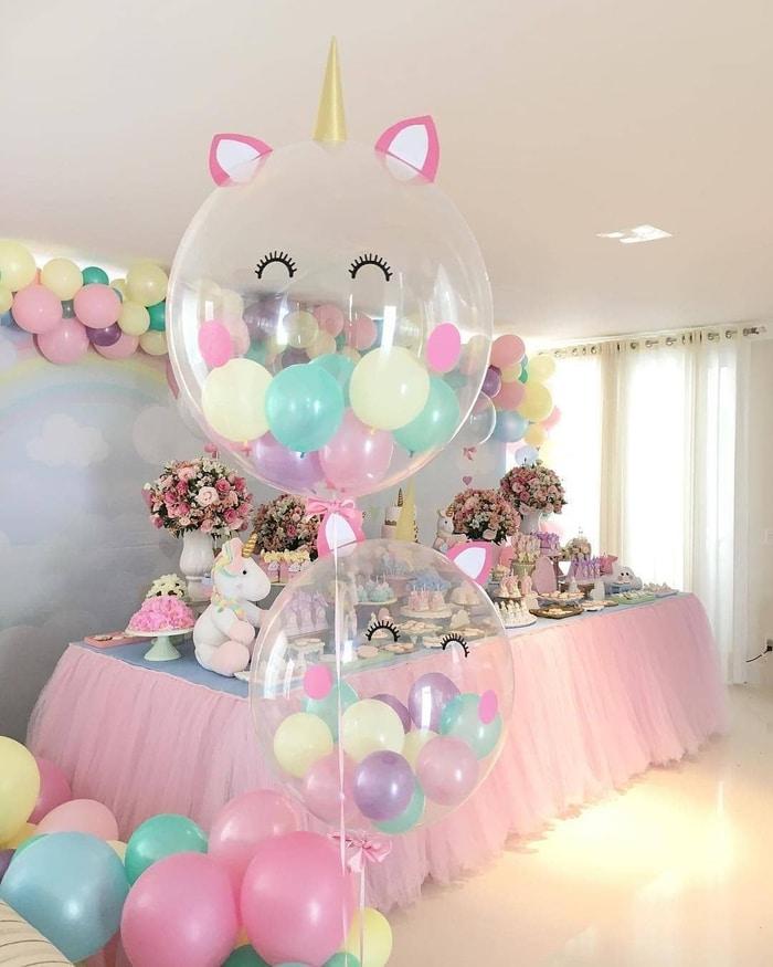 Objet Licorne Peluche Déco Buffet Anniversaire Fille Tons Pastel