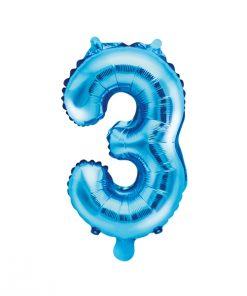 ballon chiffre 3 bleu