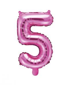 ballon chiffre 5 rose