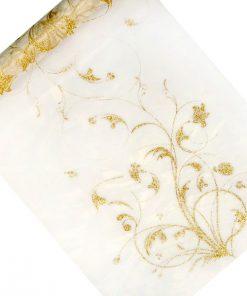 chemin de table organza blanc cassé fleurs or
