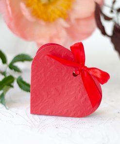 contenant à dragées coeur rouge-lot de 10
