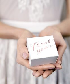 contenant à dragées mariage -Thank you -rose gold-lot de 10