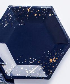 assiette hexagonale bleu marine et or