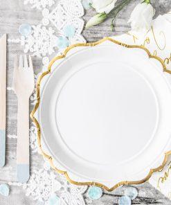 assiette vintage blanc et or