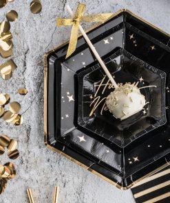 assiette hexagonale noir et or