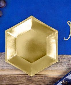 assiette hexagonale or métallisé